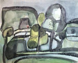 Landschaft, Aquarell, 1961