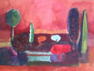 Der Rote Baum, Aquarell, 1962