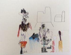 Kirche, Farbstift auf Papier, 1965