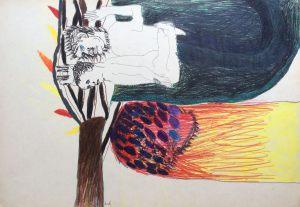Baum für Blake, Farbstift auf Papier, 1967