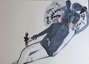 Gulliver schläft, Farbstift auf Papier, 1967