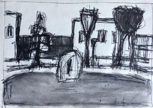 Skizze Für Landschaft, Tusche, 1961