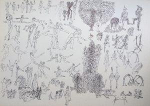 Tanzbewegung, Tusche, 1974