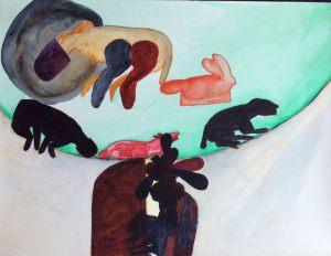 Hunderennen, Gouache auf Papier, 1967