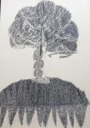 Babylonischer Baum, Kohle auf Bütten, 1975