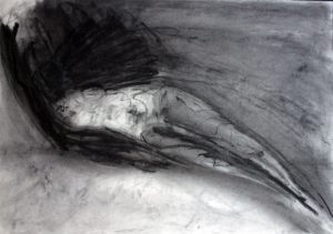 Vogeltraum Kohle auf Bütten, 1990