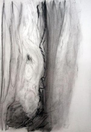 Welle, Kohle auf Bütten, 1990