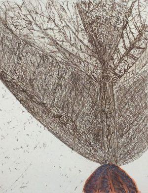 Baum, Radierung bemalt, 1992
