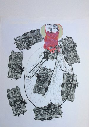 Autofresser, Handsiebdruck, 1969