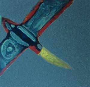 Sandvogel, Handsiebdruck bemalt, 1995