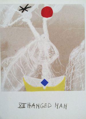 Gehenkter, Tarot, Handsiebdruck auf Karton, 1988