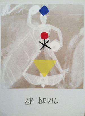 Teufel, Tarot, Handsiebdruck auf Karton, 1988