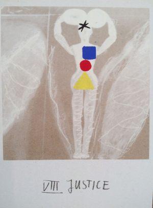 Gerechtigkeit, Tarot, Handsiebdruck auf Karton, 1988